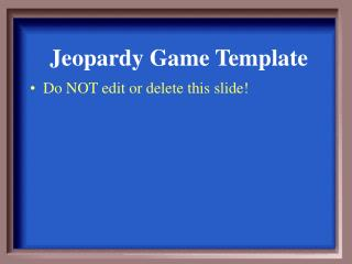 Jeopardy Game Template