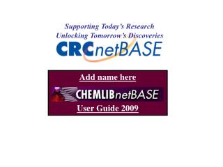 Add name here User Guide 2009