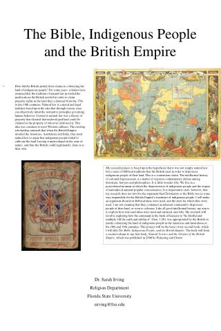The Bible, Indigenous People and the British Empire
