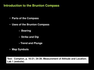 Introduction to the Brunton Compass