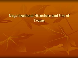 Organizational Structure and Use of Teams