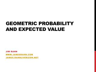 Geometric Probability and Expected Value
