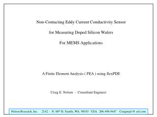 Non-Contacting Eddy Current Conductivity Sensor  for Measuring Doped Silicon Wafers  For MEMS Applications