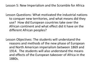 Lesson 5: New Imperialism and the Scramble for Africa