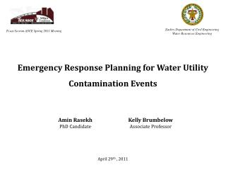 Emergency Response Planning for Water Utility  Contamination  Events