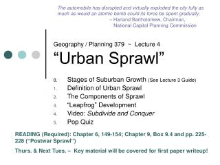 "Geography / Planning 379  ~  Lecture 4  ""Urban Sprawl"""