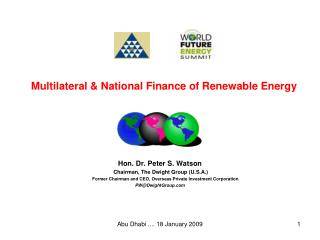 Multilateral & National Finance of Renewable Energy