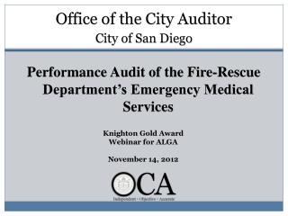 Performance Audit of the Fire-Rescue Department�s Emergency Medical Services