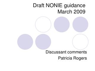 Draft NONIE guidance March 2009