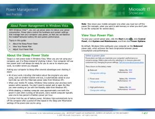 About the Sleep Power State View Your Power Plan Adjust Your Power Plan