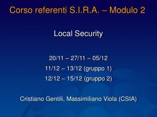 Corso referenti S.I.R.A. – Modulo 2