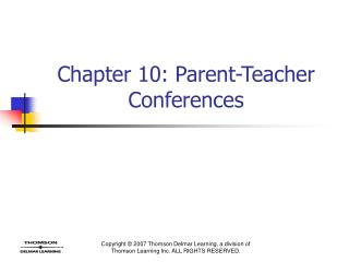 Chapter 10: Parent-Teacher Conferences