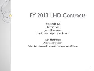 FY 2013 LHD Contracts