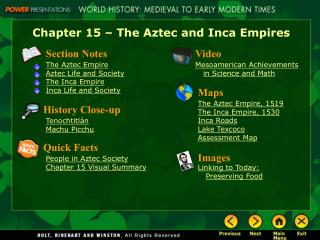 Chapter 15   The Aztec and Inca Empires