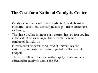 The Case for a National Catalysis Center