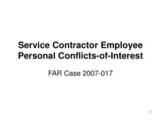 Service Contractor Employee Personal Conflicts-of-Interest