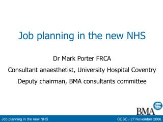 Job planning in the new NHS