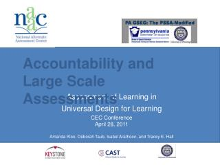 Assessment of Learning in  Universal Design for Learning CEC Conference April 28, 2011