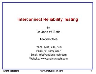 Interconnect Reliability Testing