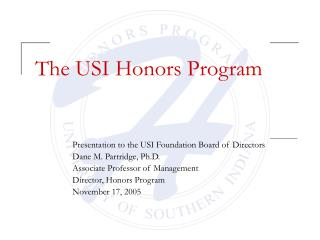 The USI Honors Program