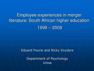 Employee experiences in merger literature: South African higher education  1998 – 2008