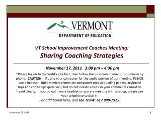 VT School Improvement Coaches Meeting: Sharing Coaching Strategies