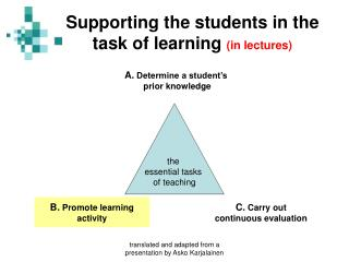 Supporting the students in the task of learning  (in lectures)