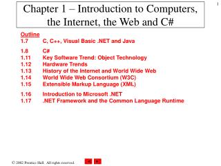 Chapter 1 – Introduction to Computers, the Internet, the Web and C#