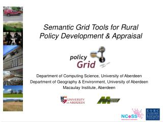 Semantic Grid Tools for Rural Policy Development & Appraisal