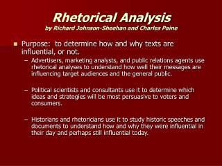 Rhetorical Analysis by Richard Johnson-Sheehan and Charles Paine