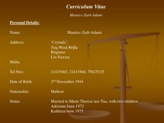Curriculum Vitae Maurice Zarb Adami Personal Details: Name:			Maurice Zarb Adami