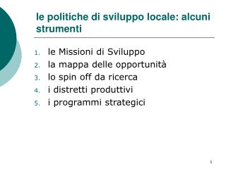 le politiche di sviluppo locale: alcuni strumenti