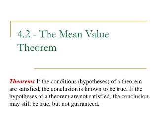 4.2 - The Mean Value Theorem