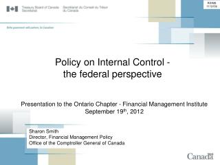 Policy on Internal Control - the federal perspective