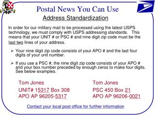 Postal News You Can Use