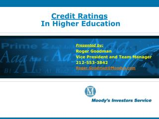 Credit Ratings  In Higher Education