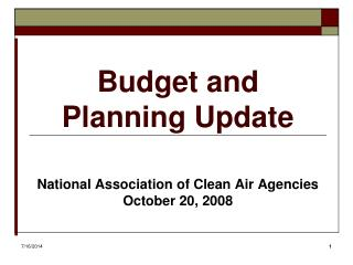 Budget and Planning Update