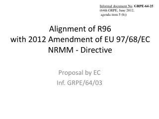 Alignment of R96  with 2012 Amendment of EU 97/68/EC NRMM - Directive