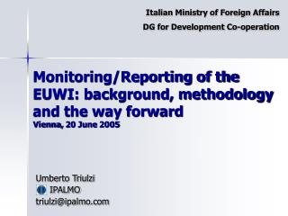 Monitoring/Reporting of the EUWI: background, methodology and the way forward Vienna, 20 June 2005