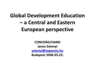 Global Development Education – a Central and Eastern European perspective