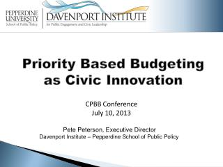 Priority Based Budgeting as Civic Innovation