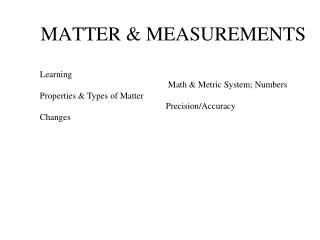 MATTER & MEASUREMENTS