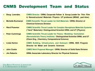 CNMS  Development  Team  and  Status