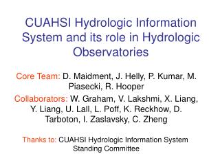 CUAHSI Hydrologic Information System and its role in Hydrologic Observatories