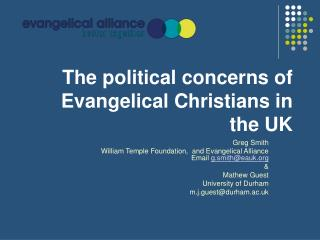 The political concerns of Evangelical Christians in the UK