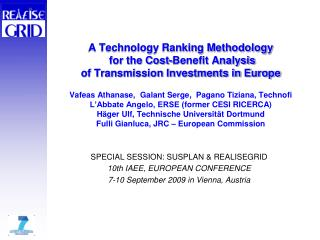 SPECIAL SESSION: SUSPLAN & REALISEGRID 10th IAEE, EUROPEAN CONFERENCE