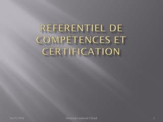 Référentiel de compétences et certification