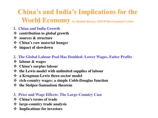 China s and India s Implications for the World Economy by Helmut Reisen, OECD Development Centre