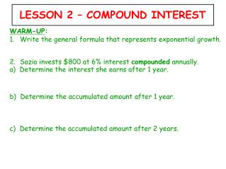 LESSON 2 – COMPOUND INTEREST