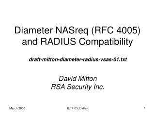Diameter NASreq (RFC 4005) and RADIUS Compatibility